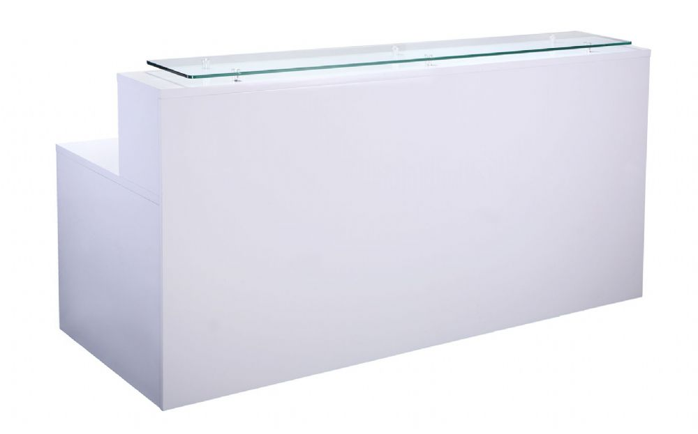 Single Section Reception Counter|12mm Tempered Glass|One Section|800mm Deep|Glass White Finish